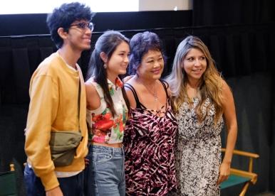 "The team of ""Llora Conmigo"": actor Juan Dueñas, writer and producer Camille St Gal de Pons, costume designer Frances Kumashiro, and actress Ruby Gonzalez"