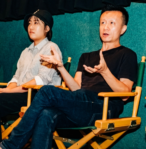 """Actor Zhan Wang and Production designer Yuelin Zhao, of """"Where Dreams Rest"""", during the Q&A with ISF-LA host Max Zabell"""