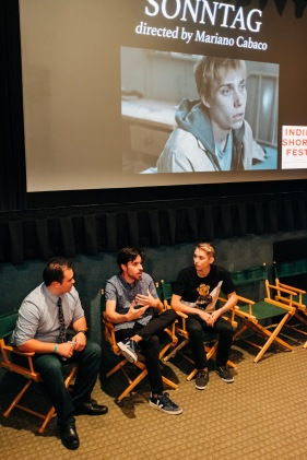 """Director Mariano Cabaco and lead actor of """"Sonntag"""" Alex Figueiredo during their Q&A"""
