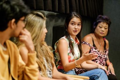 "The team of ""Llora Conmigo"": actors Juan Dueñas and Ruby Gonzalez, writer and producer Camille St Gal de Pons, and costume designer Frances Kumashiro"