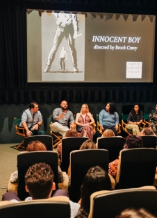 "Director Brock Cravy with the female team of ""Innocent Boy"""