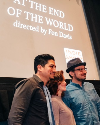 """Actors Victor Manso and A Leslie Kies, and composer Edwin Wendler, from """"At the End of the World"""", during their Q&A"""