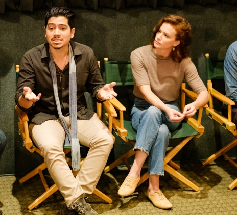 """Actors Victor Manso and A Leslie Kies, from """"At the End of the World"""", during the Q&A"""