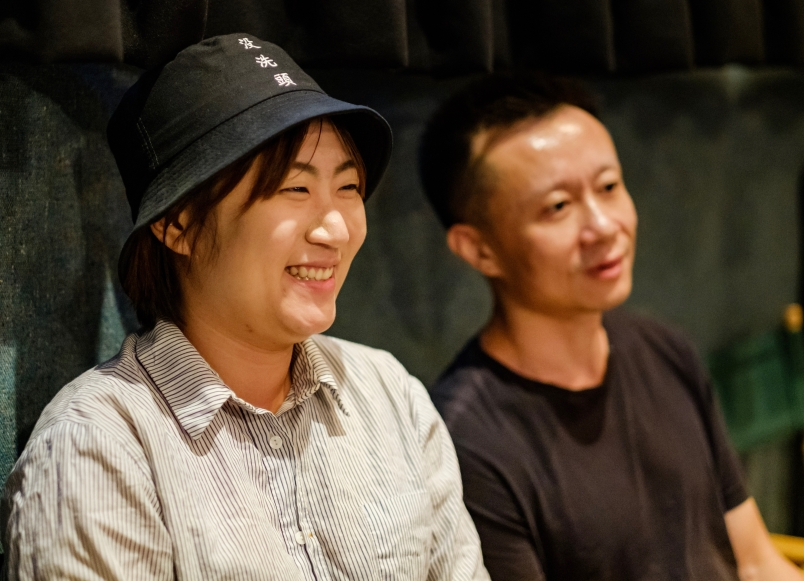 """Production designer Yuelin Zhao and lead actor Zhan Wang of """"Where Dreams Rest"""" during the Q&A"""